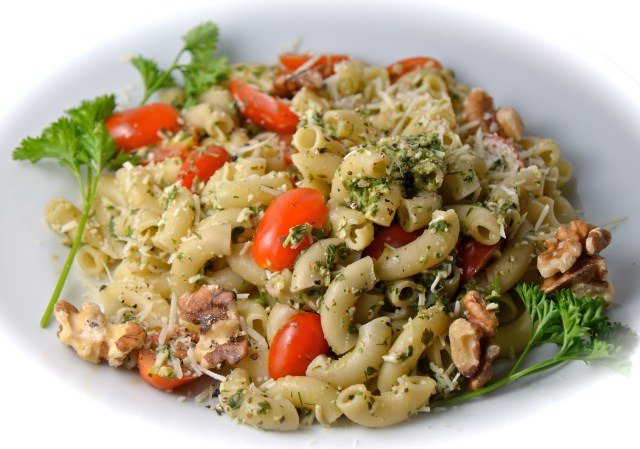 Three Herb Pesto With Pasta And Tomatoes