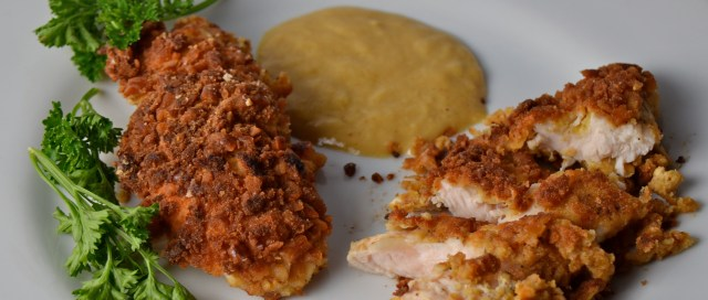 Pretzel-Crusted Chicken Fingers With Honey Mustard