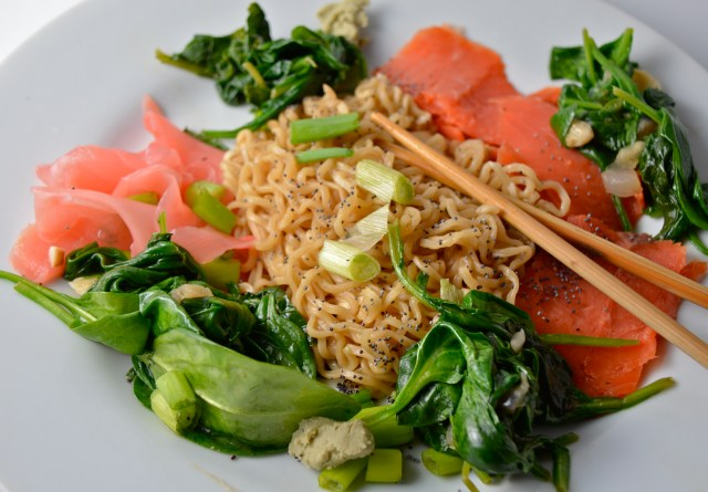 Smoked Salmon Ramen Noodles With Sautéed Kale And Spinach