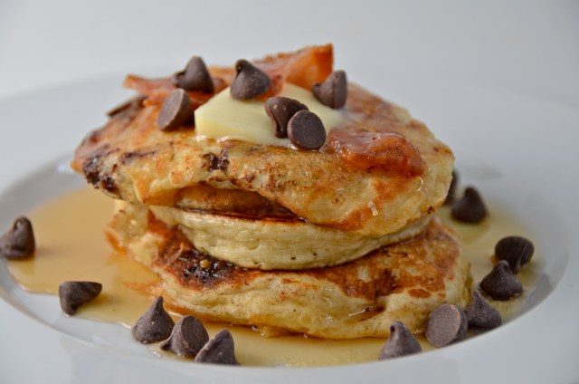 Chocolate Chip And Candied Bacon Pancakes