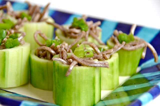 Chilled Soba In Cucumber Cups