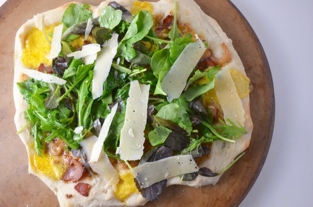 Bacon Pizza Bianca With Wild Greens
