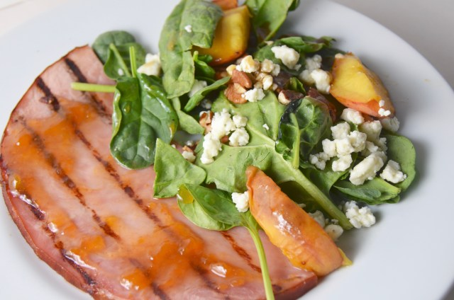 Grilled Ham Steak With  Peach-Mustard Glaze. Spinach Salad with Grilled Peaches and Gorgonzola.