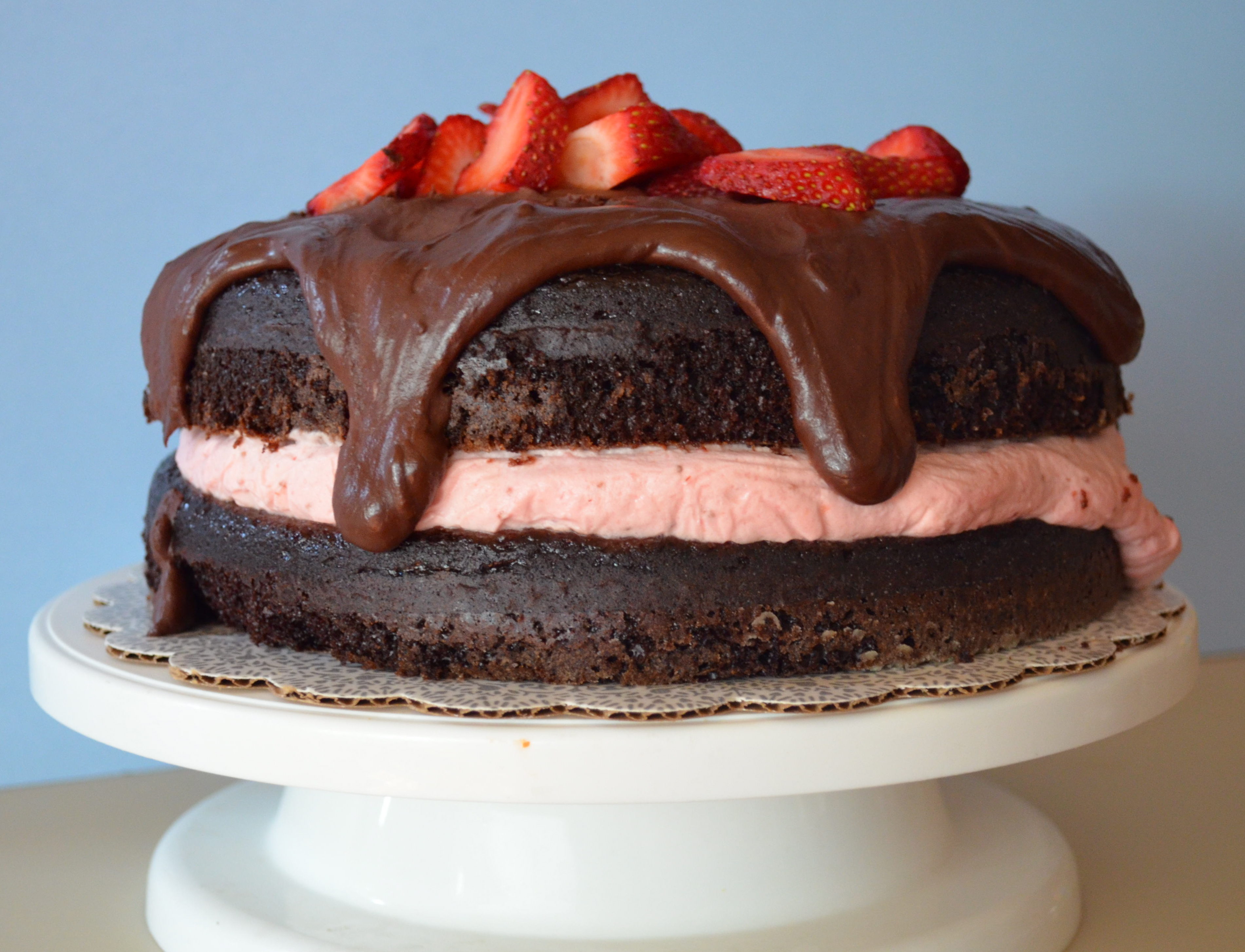 Chocolate Cake With Strawberry Cheesecake Mousse Filling