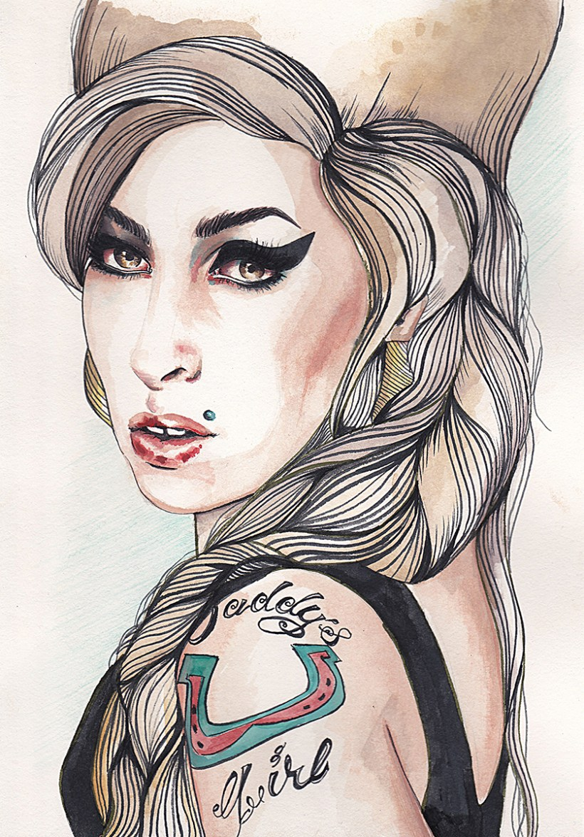 amy whinehouse watercolor