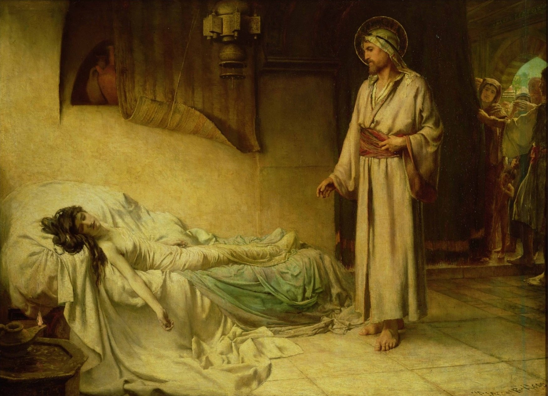 GHA13969 The Raising of Jairus's Daughter, 1885 (oil on canvas) by Jacomb-Hood, George Percy (1857-1930); © Guildhall Art Gallery, City of London; (add.info.: daughter of a synagogue elder brought back to life;); English,  out of copyright possible copyright restrictions apply, consult national copyright laws