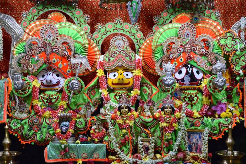 ISKCON Bangalore's beautiful Sri Sri Jagannath, Baladeva and Subhadra, who will be installed in the new temple