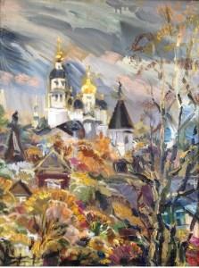 Осень в Боровске. Свято-Пафнутьев монастырь., 65х85, холст, масло 2014 г.,