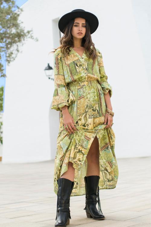 Boho Maxi Dress - Green