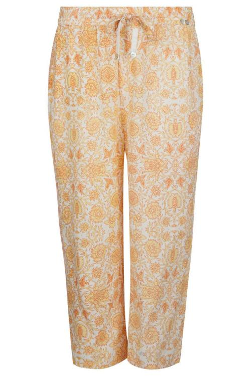 Relaxed Fit Pants Floral Peach - Yellow