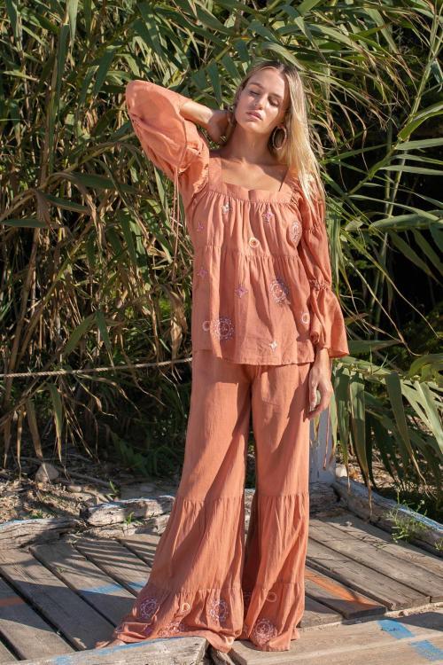 Flair Pants Embroidery Terra - Orange