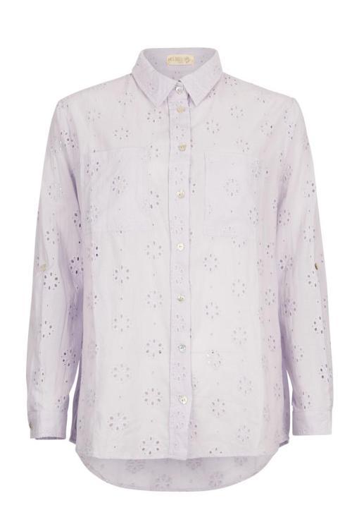 Openwork Embroidery Blouse Lila - Purple