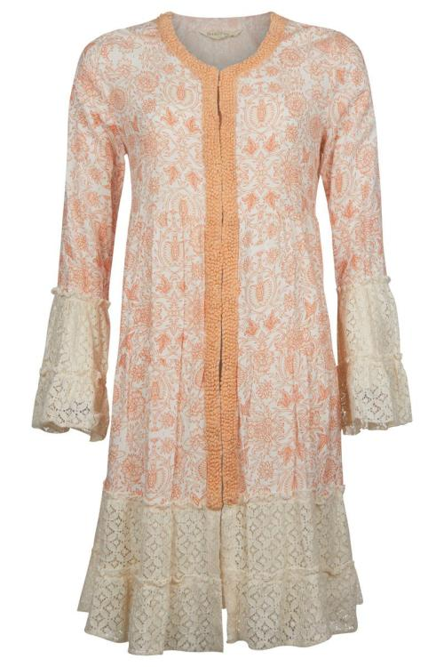 Tunic Floral Printed with Lace - Orange
