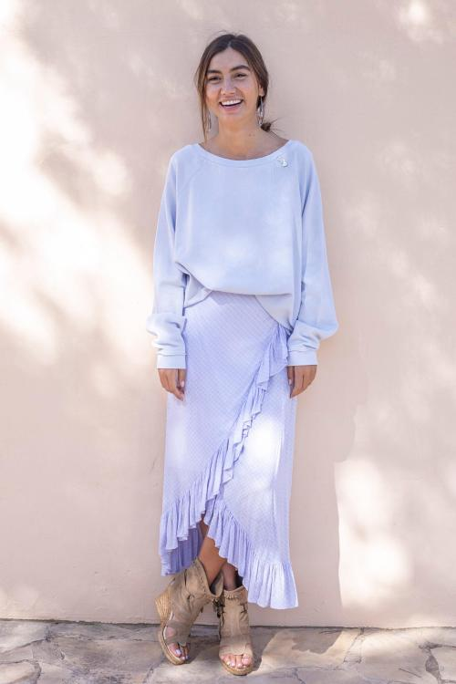 Wrap Skirt Ton Sur Ton Flower Print Lila - Purple
