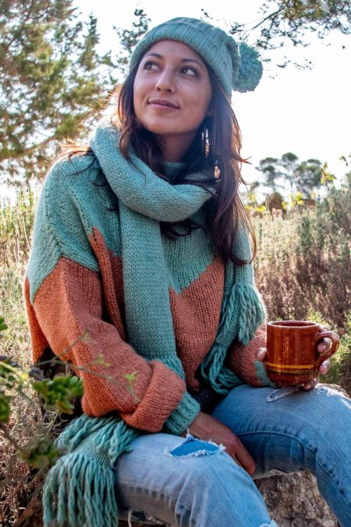 Knitted Scarf Fringes - Turquoise