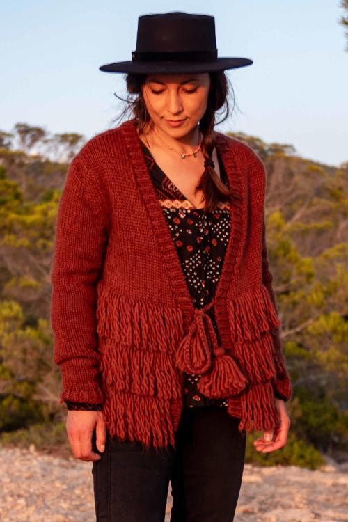 Knitted Cardigan with Fringes Dark Terra – Orange