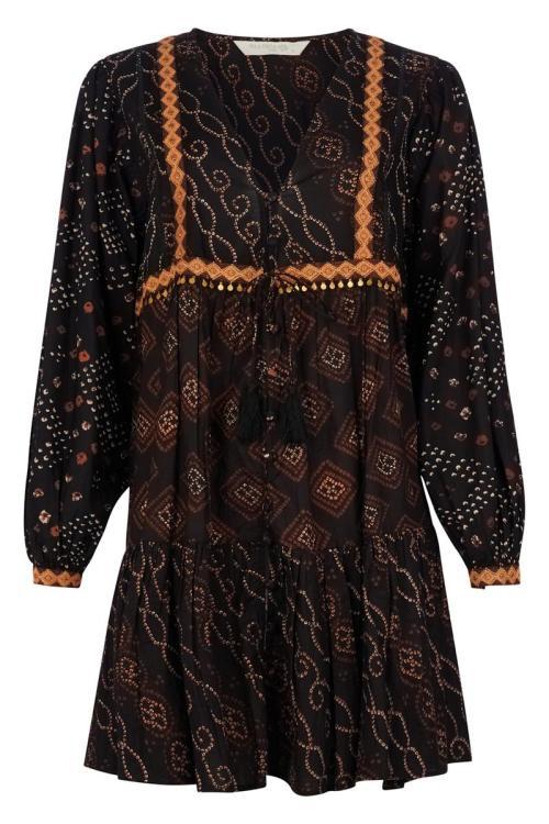 Short Dress Aztek Mixed Print - Black