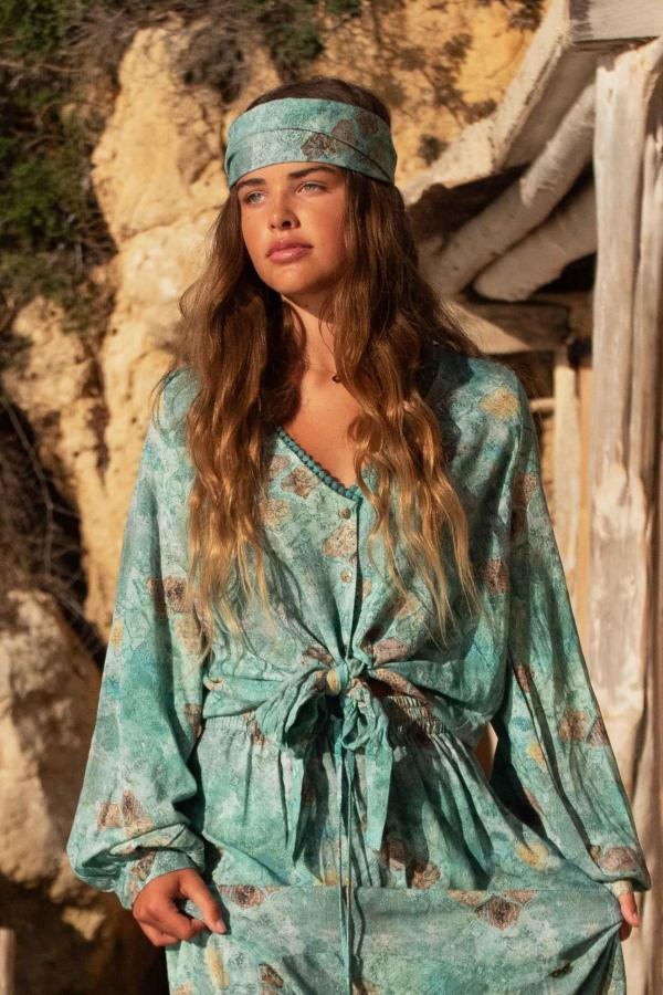 Isla Bow Blouse All Over Printed - Turquoise