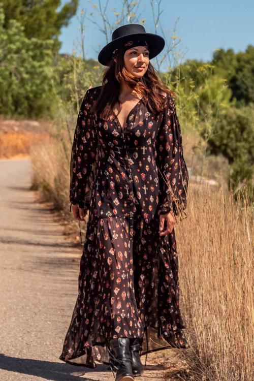 Maxi Dress Sacred Hearts Printed - Black