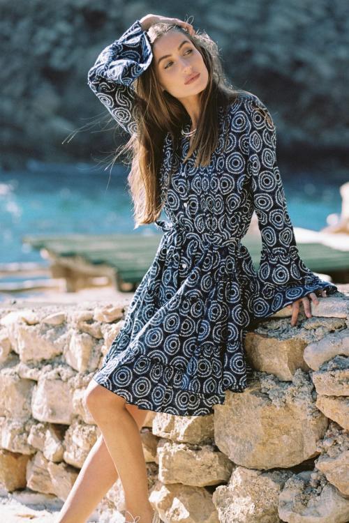 Short Dress Tie Dye Print Indigo - Blue