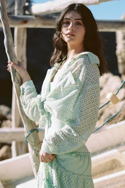 Oversized Lace Blouse Tarida - Green