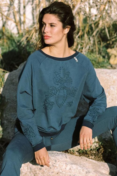 Broderie Sweater Salines - Blue