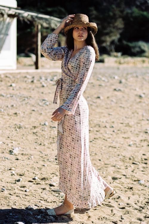 Maxi Wrap Dress Lovely Butterflies - Pink