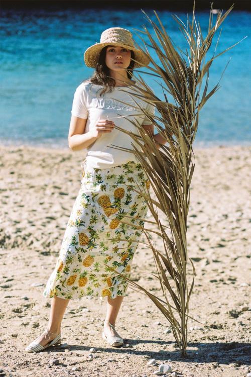 Midi Skirt Pineapple - White