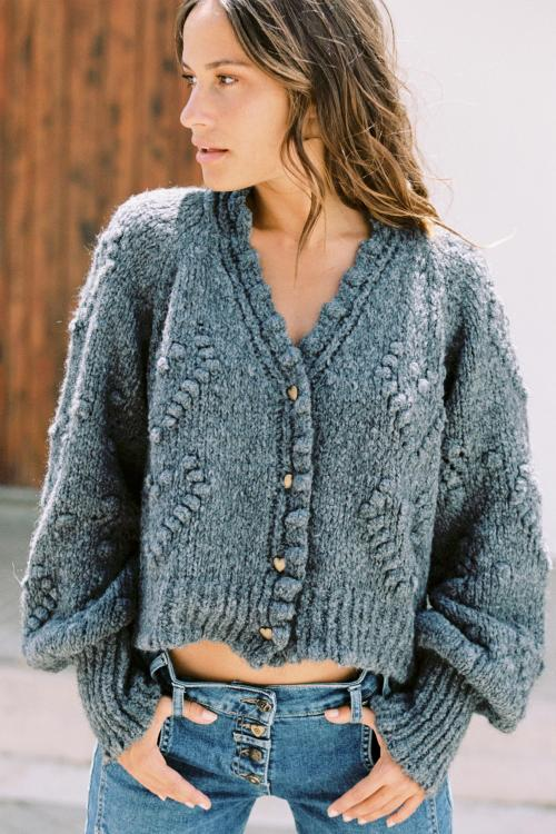 Knitted Cardigan Hearts – Grey