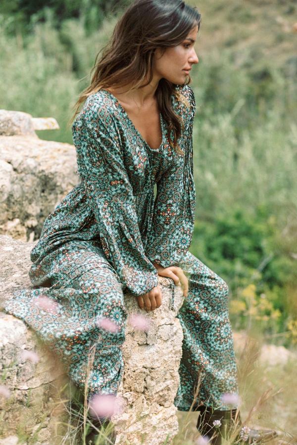 Jumpsuit Batik Flower - Turquoise