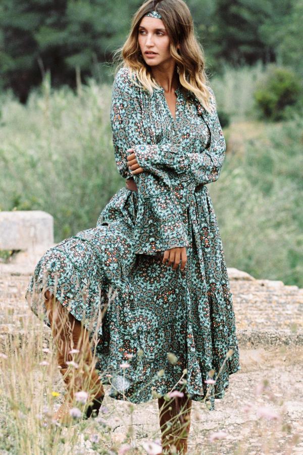 Maxi Dress Batik Flower – Turquoise