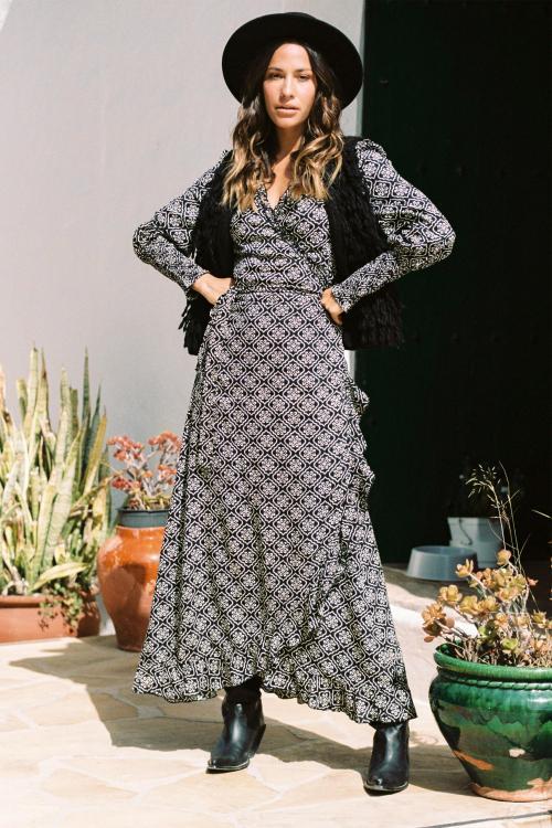 Maxi Wrap Dress Indian Block With Love - Black
