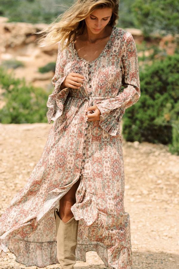 Maxi Dress Etruscan Printed – Cream