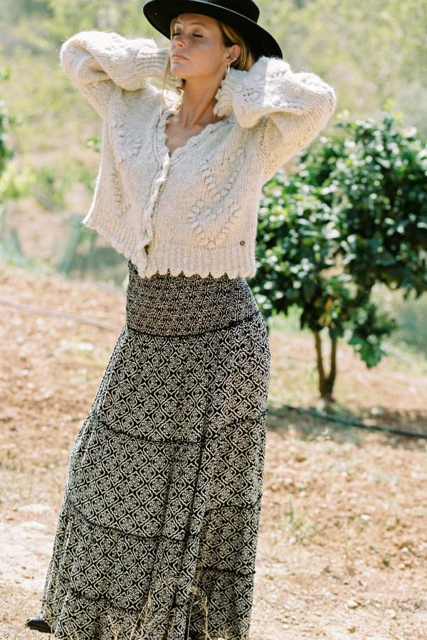 Maxi Skirt Indian Block With Love - Black