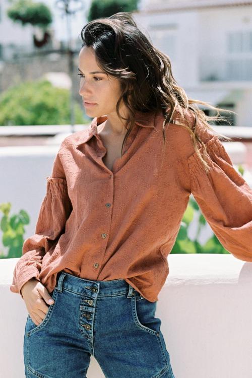 Embroidered Blouse Terra - Orange