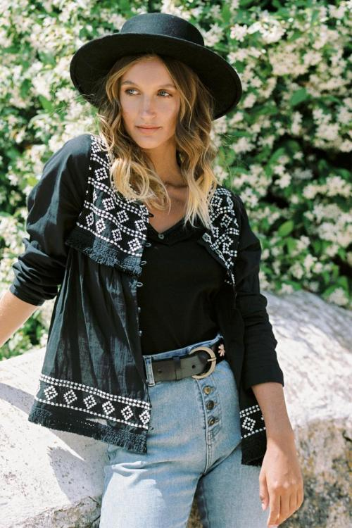 Embroidered Blouse Ikat - Black