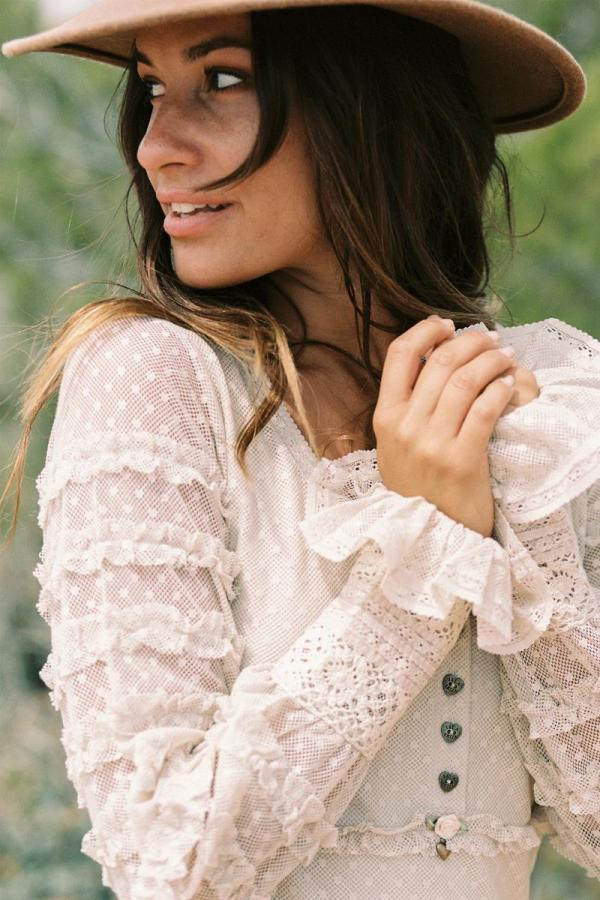 Ruffled Dotted Top – Cream