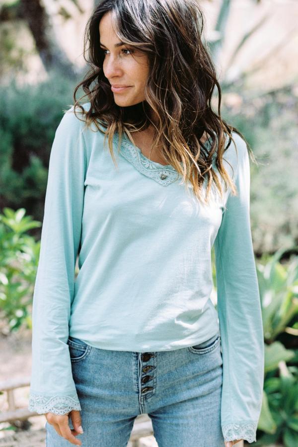Basic Lace T-Shirt Agusti - Turquoise