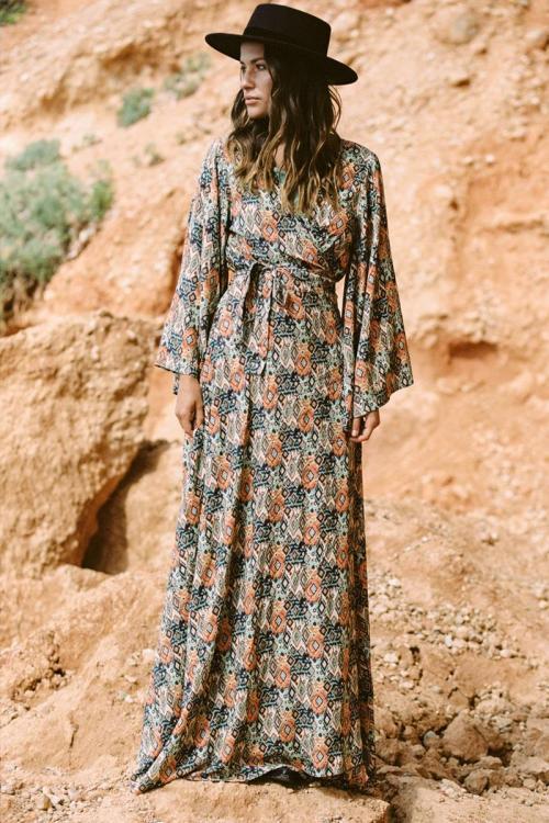 Long Wrap Dress Ikat Fantasy Print - Black
