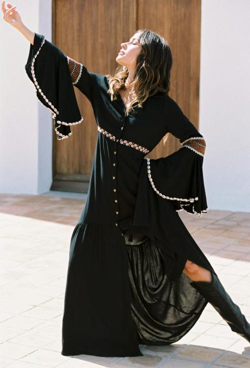 Maxi Dress Moroccan Kilim - Black