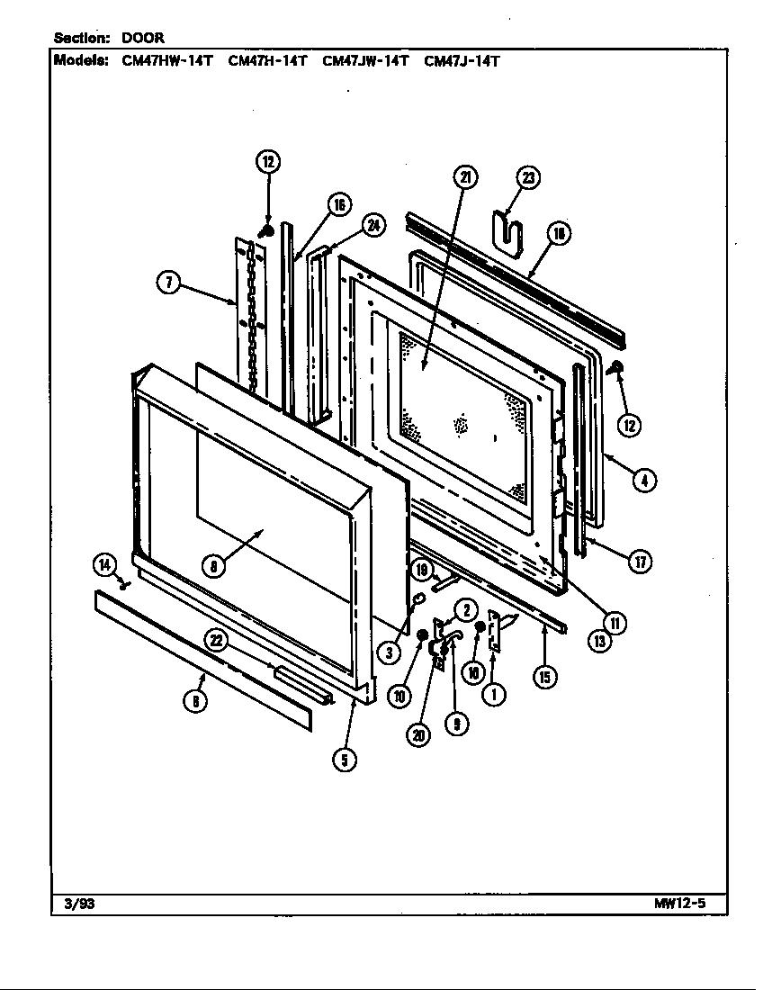 Magic Chef Cgr3725adb Parts Manual