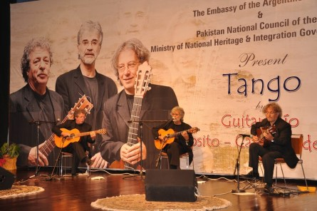 Argentina's guitar trio performing in Islamabad.