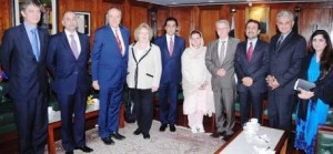 A delegation of European Parliament at the Prime Minister's House in Pakistan.