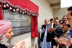 Prime Minister Nawaz Sharif on Monday inaugurated the Rs. 460 million newly upgraded facilities and fast-track services at the Benazir Bhutto International Airport.