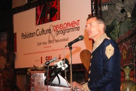Ambassador of Denmark to Pakistan, Mr. Jesper Moller Sorensen, speaking at the launch of Cultural cooperation program between Pakistan and Denmark held in Islamabad.