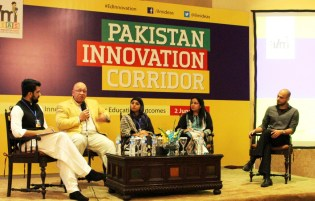 L to R: Imran Sarwar of Rabtt,  Faisal Mirza of Aman Sports, Maham Ali of Children Literature Festival, Maryam Mohiuddin of Social Innovation Lab and Qasim Aslam, The History Project at Pakistan Innovation Corridor held in Islamabad on 2 June, 2015.