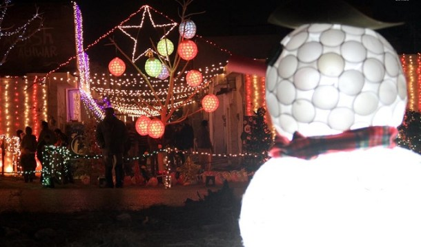 An illumined view Christian locality site decorated with colorful light on the eve of Christmas celebrations at G-6