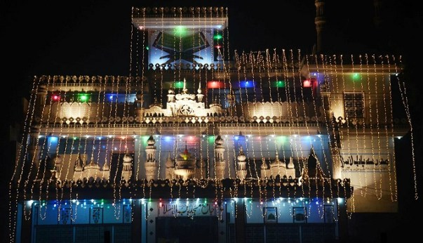 A mosque illuminated in Karachi on Eid-e-Milad-ul-Nabi