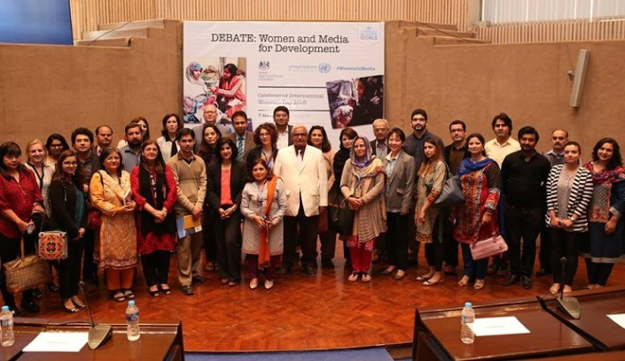 'Women and Media' debate held in Islamabad to mark International Women's Day and pay tribute to the outstanding women journalists working in Pakistan. Photo: UN Pakistan