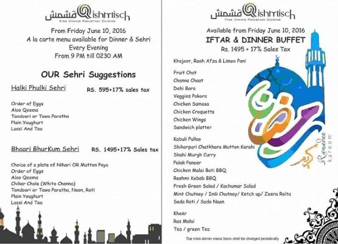 Qishmisch Islamabad Ramadan 2016 deals